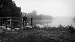 Project 366 - 206/366: Staring into the distance (sdejongh) Tags: 206366 366 alone brussels contrast deep depth depthoffield far gaze lake landscape look mist mood morning pond portrait project reflection seeing soft thinking water