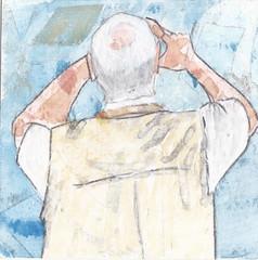 # 232 (19-08-2016) (h e r m a n) Tags: herman illustratie tekening bock oosterhout zwembad 10x10cm 3651tekenevent tegeltje drawing illustration karton carton cardboard back rug rucke ruggenfiguur ruckenfigur camera fotograaf foto photographer photo iphone man male oud oudere oldage old