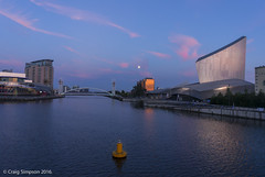 The Moon over Salford Quays. 16th August 2016. (craigdouglassimpson) Tags: sunsets reflections water salfordquays manchestershipcanal imperialwarmuseum thelowry greatermanchester lancashire england
