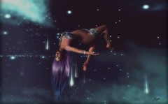 Fall from a shooting star... (Morrigan Outlander) Tags: secondlife sl virtual virtualworld avatar blue purple stars shootingstars elysion woman female pretty sexy erotic falling serendipity tableauvivant gacha caboodle maitreya catwa destiny babygirl glamaffair izzies nude {anc} ipiccy muka music song