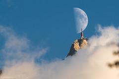 Demi quartier_1252 (upstairschamonix) Tags: chamonix mont blanc valley aiguille du midi moon summit azais sky clouds blue mountain high