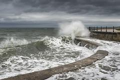 Waves at Scarborough (Keartona) Tags: scarborough seawall waves wave crashing stormy sea northsea seaside yorkshire england dramatic curve breakingwave cloudy moody sky