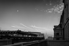 Project 366 - 264/366: Moon over Brussels (sdejongh) Tags: 264366 366 blackandwhite brussels buidlings city cityscape clouds hall monochrome moon negativespace project sky town urban