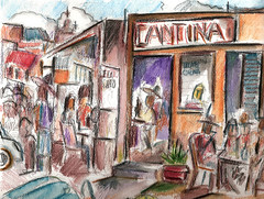 THEY SERVE TEQUILA DON'T THEY? (roberthuffstutter) Tags: style expressionism impressionism huffstutter watercolorsbyhuffstutter artmarketusa