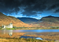 Castle Reflections (PeterYoung1.) Tags: mountains beautiful clouds canon reflections landscape scotland flickr scenic hills atmospheric kilchurncastle dalmaly