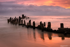 John Cusack (Brian Koprowski) Tags: morning chicago seascape sunrise dawn pier illinois exposure pentax lakemichigan greatlakes pilings evanston hdr ruleofthirds timechange grossepoint pentaxk5 briankoprowski bkoprowski
