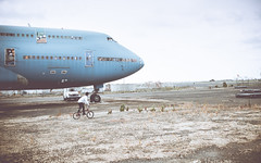 Remy & The Whale (Xiangk) Tags: portrait abandoned graveyard bike self plane airplane airport boeing 747