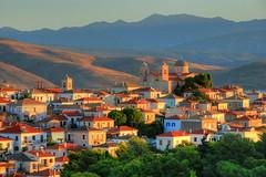 Galaxidi in morning light (Rich3012) Tags: morning light mountains church st landscape greek dawn town rooftops greece nicholas hdr galaxidi