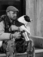 Man with Dog and Mug (Maggie's Camera) Tags: winter dog man cold bath homeless mug thermos northsomerset homelessness