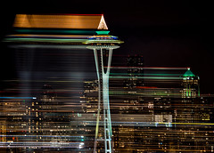 Space Rays (ingridtaylar) Tags: seattle christmas winter holiday motion skyline night lumix lights washington view queenanne olympus christmastree christmaslights christmasdecorations spaceneedle holidaylights seattlecenter omd 100300mm em5 november2012