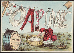 Soapine washes anything [front] (Boston Public Library) Tags: women laundry advertisingcards householdsoap
