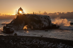 Hollow Rock sunrise (KarenR-TB) Tags: winter ice beach minnesota sunrise wave lakesuperior grandportage hollowrock