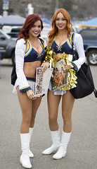 Two Charger Girls selling calendars before the game (San Diego Shooter) Tags: portrait cheerleaders sandiego cheerleader chargers sandiegochargers nflcheerleader chargergirls sandiegochargerscheerleader sandiegochargergirl