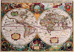 Antique Maps (divinumphoto) Tags: map antiquemapsoftheworld doublehemispheremap henricushondius c1630