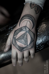 geometric hand tattoo (†rÅ⁄is) Tags: nyc moon newyork geometric shop tattoo brooklyn work river triangle hand geometry dot line east symmetrical dots shaded shading mxm dotwork