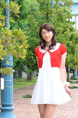 day239-15 red mini cardigan & white race onepiece (Yumiko Misaki) Tags: red white race mini crossdressing transgender transvestite crossdresser cardigan day232 day238 day239 transsexsual lodispotto opepiece