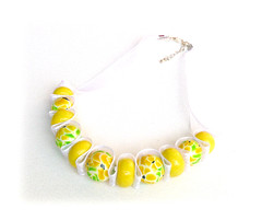 Lemon Blossom Polymer Clay Ribbon Necklace (Lottie Of London) Tags: jewellery polymerclay handmadenecklace lottieoflondon
