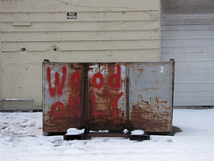 Wood Only (Drew Makepeace) Tags: snow dumpster bin