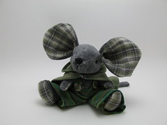 12-17-12(17) (The Craggy Moor) Tags: art toy mouse grey friend doll handmade ooak pjs cape dressed fieldmouse jointed craggymoor