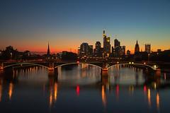 Skyline Frankfurt at dusk (Dan_Khan) Tags: frankfurt city skyline longexposure lights lightlines citylights canoneos5dmkii canonef2485mmf3545usm darktable