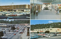 Park Royal Shopping Centre, West Vancouver, BC (SwellMap) Tags: postcard vintage retro pc chrome 50s 60s sixties fifties roadside midcentury populuxe atomicage nostalgia americana advertising coldwar suburbia consumer babyboomer kitsch spaceage design style googie architecture shop shopping mall plaza