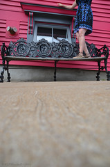 It's lovely, but it's not the target Bench Monday (RielleM) Tags: hbm benchmonday bench lunenburg novascotia canada tourism atlanticcanada fuschia hotpink pink black iron window wall legs