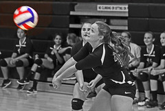 IMG_4432 (SJH Foto) Tags: girls volleyball high school scrimmage somerset pa pennsylvania team tween teen teenager black white blackandwhite bw monocolour pp photoshop postprocessing editing colour rendering contrast boost selective favourite action shot dig bump
