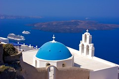 Blue flavors of Greece (somabiswas) Tags: imerovigli santorini blue domes church greece cruise ship aegean sea