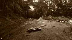 Wombwell - Rockingham colliery old railway (dave_attrill) Tags: rockingham colliery pit trackbed dovecliffe old railway worsborough wentworth road wombwell barnsley sheffield platform 1988 footbridge syr midland great central 1860 high royds