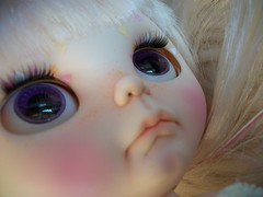 Such a beautiful face...... (simplychictiques) Tags: blythe ooakblythedoll customblythedoll shabbychic jodiedollscustom grumpy pout adorable pastels frecklesandpout airbrushfaceup details naturallighting closeup floss