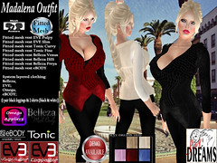 Madalena Outfit FATPACK (mysticdreams0607) Tags: eve evemesh mesh avatar belleza ebody fitmesh fitted vest shirt leggings omega tonic spring autumn winter warm fashion sexy latest jacket different outfit black white cream fatpack fur