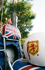 Wee Scottish Lass (Georgie_grrl) Tags: modsandrockers2016 motorcycles scooters chrome social community friends bikes bikers riders scooterists pentaxk1000 rikenon12828mm ossingtonavenue unionjack helmet scooter scottishlass crest rampaginglion