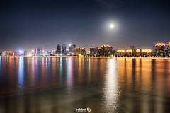 New Lights Under A Full Moon (Andy Brandl (PhotonMix.com)) Tags: china hangzhou highrises illuminated leds river reflections night longexposure color fullmoon nikon photonmix qiantangriver