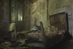Suicide Floor (ProfShot - Perry Wiertz) Tags: urban urbex floor hotel room bedroom dark moody old dust rust hidden lost mold bed furniture blanket greens shadow light forbidden forgotten decayed decay derelict dead abandoned