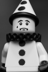 Sad Clown (Andrew D2010) Tags: mime sadclown minifigures blackandwhite clown series10 lego
