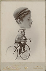 Man on a Bicycle - Photo Caricature Cabinet Card (Photo_History - Here but not Happy) Tags: cabinetcard caricature bicyle comic