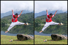 K | 3D Stereography (More photos on 1st comment box) (AnNamir c[_]) Tags: canon 3d kid jumping action malaysia 7d nerf parallel along daniell stereography dq gettyimages selangor loreo rifae annamir darulquran tasikhuffaz imej3d lensinacup