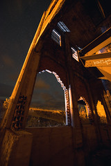 Mohawk Tipple (James.Ireland) Tags: old longexposure autumn sky canada eye fall abandoned stars concrete iso800 star eyes nikon mine exposure industrial decay awesome alberta crowsnest coal greenhill beams notrespassing crowsnestpass brokenwindow keepout d800 14mm notastartrail