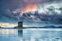 Castle Stalker At Dusk (mark_mullen) Tags: sunset clouds landscape evening scotland highlands scenery dusk scottish montypython holygrail glencoe oban westcoast castlestalker argyllandbute portappin lochlaich caistealanstalcaire canon5dmk3 markmullenphotography canon5dmk324105f4