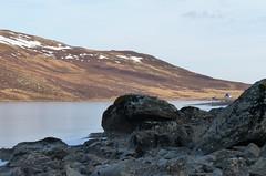 Cold Loch (Eff Bee) Tags: winter light sun lake snow cold ice rocks perthshire hut loch