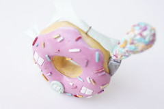 donut ornament (jessicajane.love) Tags: pink sculpture cute glitter colorful aqua handmade ooak polymerclay ornaments whimsical christmasornaments dwelling mustardyellow gnomehome donuthouse miniaturehouses cupcakehouse petitehouse