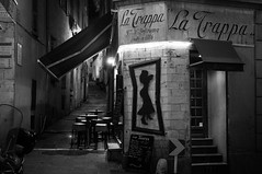 The stairs (botterli) Tags: old travel bw france monochrome bar stairs menu awning town blackwhite nice vieilleville x100 latrappa fujifilmfinepixx100