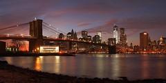 East of East River (beanhead4529) Tags: nyc newyorkcity sunset skyline brooklyn skyscraper manhattan worldtradecenter dumbo brooklynbridge suspensionbridge lowermanhattan brooklynbridgepark