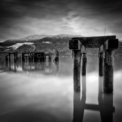 Quiet (Alan Drake) Tags: ocean wood old sea sky canada nature water clouds square dock nikon britishcolumbia driftwood britaniabeach d7000