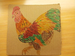 20121120_094824 (Bananananananaaaaa) Tags: chicken cardboard doodles markers reuse officedrawings
