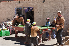 Youngsters of Paryang playing pool game. (Rijko) Tags: people tibet paryang streetschene villageofparyang