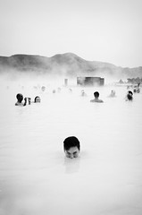 Blue Lagoon (Claire Marie Vogel) Tags: blue boy man hot water pool face monster marie iceland claire spring eyes evil lagoon steam explore tub sulphur sneaky vogel explored