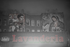 Laundry - Lavandera (keunerr) Tags: city bw chicago night noche catholic religion ciudad bn virgin mexican laundry virgen mexicano catolico lavanderia