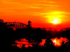 Van Buren Arkansas railroad train sunset (MentalBenStudio) Tags: railroad bridge sunset shadow reflection water silhouette train river photography photo image picture rail pic photograph vanburen arkansas fortsmith hdr imagery arkansasriver mentalben