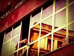 Distortion on Flatbush Avenue (Daria Angeli) Tags: nyc usa distortion ny reflection building architecture brooklyn mirrors 2012 flatbushavenue colourartaward iphonephotos